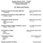 Continuo Collective of the South - Music of J.S. Bach & Family Program