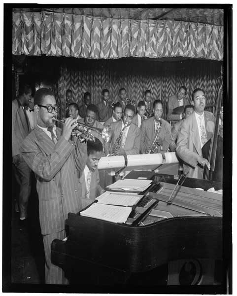 Portrait of Dizzy Gillespie, John Lewis, Cecil Payne, Miles Davis, and Ray Brown, Downbeat, New York, N.Y., between 1946 and 1948, (LOC)